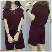Js hanna maroon-jumpsuit remaja-fashion-simple-jumpsuit polos-SG