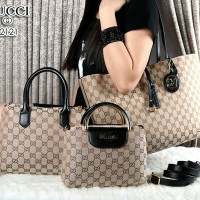 GUCCI Bolbal Canvas Vs Smooth Leather 3in1 2121#