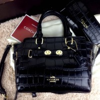 "COACH Carryall Crocodile Ghw ""Fashion Week"" With Pouch C-108#"