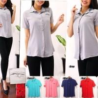 Baju Pakaian Wanita Kemeja Atasan Model Lengan Pendek 659C