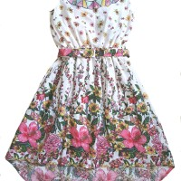 dress anak floral classic birds and bees