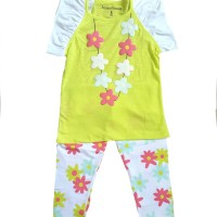 setelan anak B lime green soft and comfort birds and bees