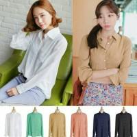 harga Baju Kemeja Blouse bahan Chiffon lengan panjang atasan Wanita Korea Tokopedia.com