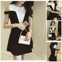 dress pendek/ mini dress like two tone sabrina black white style