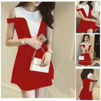 dress pendek/ mini dress like two tone sabrina red white style