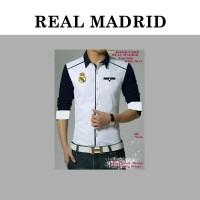 New Promo Kemeja Club Bola Real Madrid White Navy. GOOD QUALITY