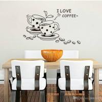 WALL STICKER 50X70 TRANSPARAN WALLSTICKER JM8268 I LOVE COFFE