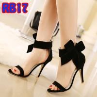 Jual Sandal Heels Pita Brudru Double Suede Tinggi 9cm (RB17 Hitam) Murah