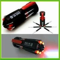 Obeng 8in1 Multifungsi + Lampu LED Promoted Terlaris