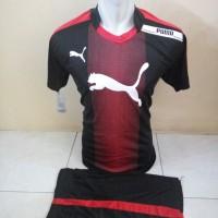 Setelan Futsal, Kostum Tim, Jersy Volly Puma Hitam Kombinasi Merah