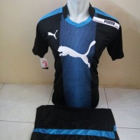 Setelan Futsal, Kostum Tim, Jersy Volly Puma Hitam kombinasi Biru