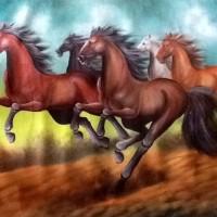 Lukisan Kuda Lari 80x60 Simbol Semangat Pembawa Keberhasilan /Rejeki 4