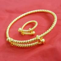 Set Perhiasan Model Lilit Tambang Lapis Emas Asli 24k