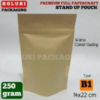 Jual KEMASAN KOPI PREMIUM STAND POUCH PAPERCRAFT 250 GR/PLASTIK KLIP Murah