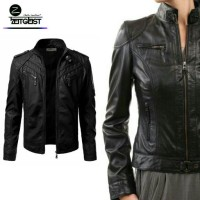 Jual ZEITGEIST COUPLE FAUX LEATHER BLACK BIKER JAKET KULIT SINTETIS