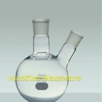 Boiling flask two neck cap. 500 ml, round bottom, IWAKI/ PYREX