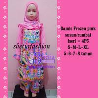 frozen pink baju gamis muslim anak islami karakter_ frozen rok susun