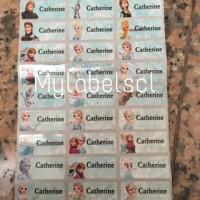 Label Nama Stiker Waterproof Sticker anti air Frozen Anna Elsa S M L