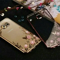Softcase Flower Diamond List Chrome Lenovo K5 / K5 Plus A6020