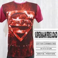 T-Shirt Full Print 3D Superman Fire Logo