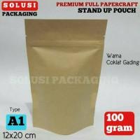Jual KEMASAN KOPI PREMIUM STAND POUCH PAPERCRAFT 100 GR/PLASTIK KLIP Murah