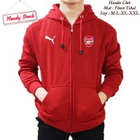 Jaket hoodie zipper klub Bola arsenal red