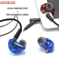 Master DIY Earphone Dual Driver Unit + Detachable Cable High Resoluti