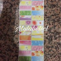 Label Nama Stiker Waterproof Sticker anti air bunga Fancy Flower L