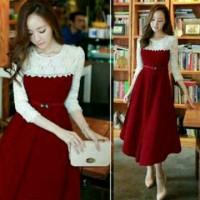 Jual baju wanita online murah - maroon cori dress