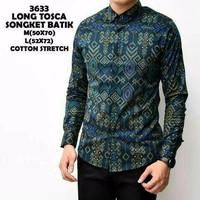 Baju Kemeja Pria Tangan Panjang Batik Songket Hijau Tosca Cotton Premi