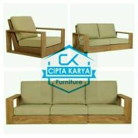 Set Meja Kursi Sofa Tamu Jati Minimalis Mewah cipta karya Furniture