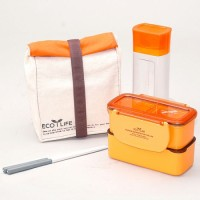 Lock&Lock Mini Lunch Box Set with Water Bottle and Bag - Orange
