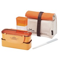 Lock & Lock Slim Lunch Box with Bag and water Bottle - Orange