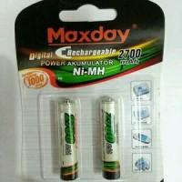 Baterai Cas isi ulang AAA Maxday Rechargeable 2Pcs