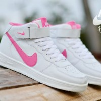 Sepatu Nike Force One High White Pink