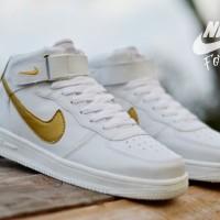 Sepatu Nike Force One High White Gold