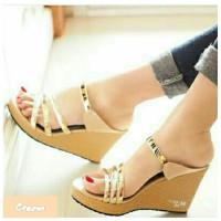 Sepatu Wanita Murah - Sandal Wedges Cream Ban 3 Milenium Gold