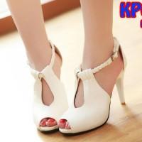 Sandal Heels Tali Kepang Tinggi 9cm (kp01 Putih)