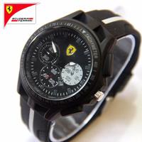 PROMO LIMETED Jam Tangan Pria / Cowok Ferrari T800 Rubber Black White