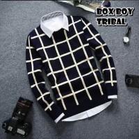 Jual Box Boys Navy/Jaket Rajut Pria Murah