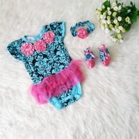 harga Baju Pesta Bayi Perempuan 3in1 Jumper Bandana Sepatu Batik Bunga Biru Tokopedia.com