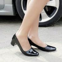 Sepatu Wanita Kerja Kantor Pantofel Hitam Heel Tahu Diskon