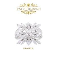 Cincin Berlian Wanita Cincin Emas Putih Cincin Tunangan DR001030