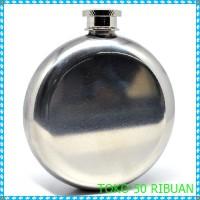 Jual Botol Minum Wine Bir Flask Hip Round Shape Stainless - Silver G236 Murah