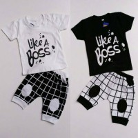 Baju Setelan Anak Laki-laki Cowok Like A Boss Hitam Putih Celana Kotak