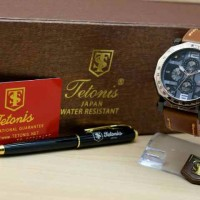 JAM TANGAN WAG PRIA TETONIS PAKET BLACK GOLD LEATHER LIGHT SALE Mu