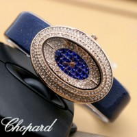JAM TANGAN WAG WANITA CHOPARD DIAMOND 6896 LEATHER BLUE SALE Murah