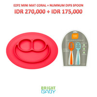 EZPZ MINI MAT CORAL RED + NUMNUM DIPS SPOON