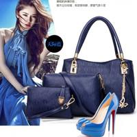 LV03 / TAS FASHION WANITA IMPORT - TAS PAKET - AV8332 BLUE 3 IN 1 / FA