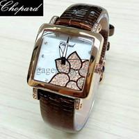 Jam Tangan Wanita / Cewek Chopard Flower Leather Brown